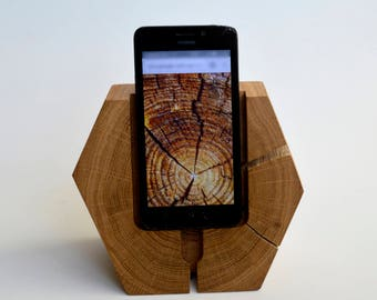 iPhone Dock Station / iPhone Stand / Wooden Docking Station for Phone / Geometric Wood iPhone Dock Station / iPhone 4 5 6 7 8 / Gift for Him