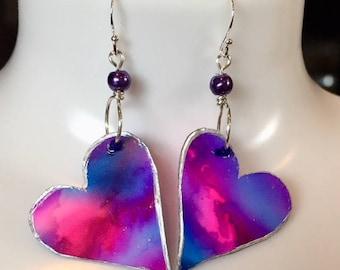 Heart Earrings, Pink & Blue, Sterling Silver, Alcohol Ink Art