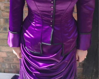 Victorian ensemble, bustle skirt, vest basque, duchess satin, custom made to order, different colours available
