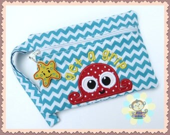 Get a Grip Octopus Zippered Fabric Tampon Clutch Wristlet Purse Pouch