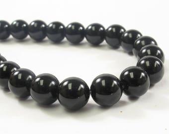 8 mm Smooth Round Black Onyx Semi Precious Beads, Natural Gemstone Beads, Round Smooth Natural Black Onyx Beads (405-BONX08)