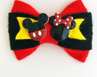Mickey & Minnie Bow Clip
