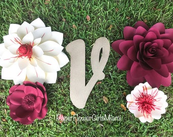Nursery Paper Flower set with Initial