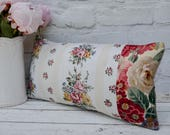 "Pair of vintage patchwork bolster cushions 40x20cm/ 16x8"" with feather insert. Rectangular bolster pillows made from vintage fabrics"