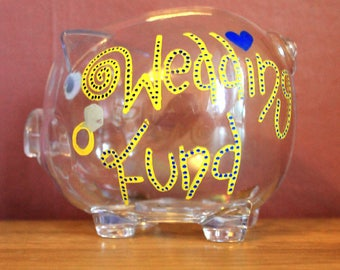 Personalised Piggy Bank - Transparent Hand Drawn Money Box to Save Birthday / Wedding / Travel / Christening / University / Children's Gift