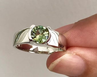 Natural Unheated Green Sapphire 18K White Gold Ring