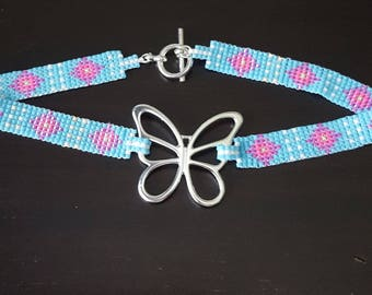 Beaded butterfly chocker