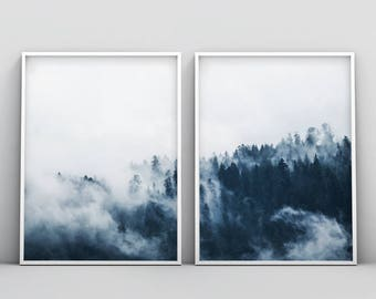 Forest Photography, Forest Print, Scandinavian Print, Foggy Forest, Minimalist 2 Piece Nature Wilderness Instant Download, Modern Minimalist
