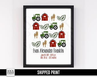 Farm Birth Stats Print - Farm Nursery Print - Farm Nursery Theme Baby Birth Stats - Tractor Nursery Art - Farm Nursery Decor - Sku-CNA111