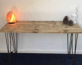 Handmade Console / Sofa Table - Reclaimed Scaffold Boards - Bare Steel 3 Rod Hairpin Legs