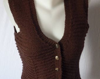 Cardigan style spencer sleeveless Brown wool