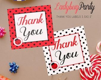 Printable thank you tags, Ladybug tags, Party favor tags, DIY birthday party decor, Ladybug label, Favor thank you tags, Birthday favor tags