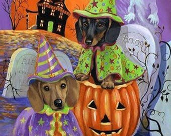 Halloween Dachshunds Cross Stitch Pattern***LOOK***