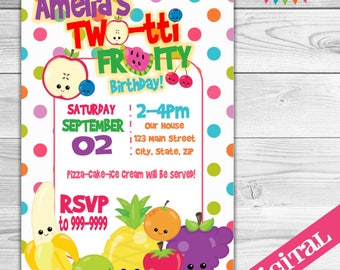 DIGITAL Two-tti Fruity party invitation