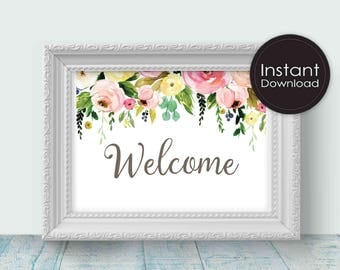 Welcome Sign in White with Flowers, Printable Wedding Signs,  Printable Wedding Decor, Instant Download,Digital Printable File
