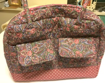 Purse, tote handbag, quilted, cotton