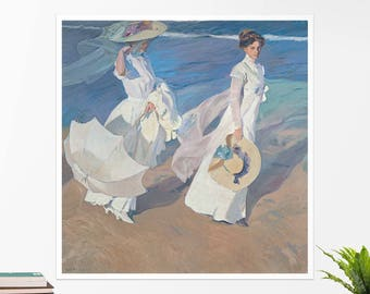 "Joaquin Sorolla, ""Walk on the Beach"". Art poster, art print, rolled canvas, art canvas, wall art, wall decor"