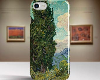 "Vincent van Gogh, ""Cypresses"". iPhone 7 Case Art iPhone 6 Case iPhone 8 Plus Case and more. iPhone 7 TOUGH cases. Art iphone cases."
