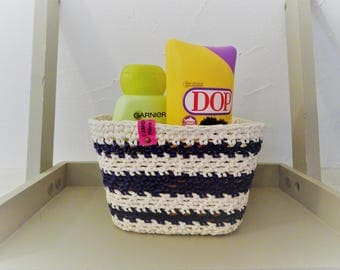 Atlantis, home-made crochet basket, handmade, sailor, sailor, cotton, knit, storage, home, bathroom.