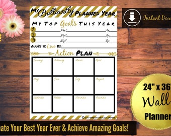 "Wall Planner Printable 24"" x 36"" Goal Setting Calendar All Year Long"