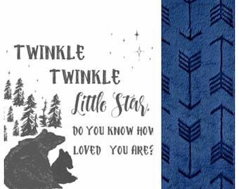 Custom, baby, toddler, minky, little star, bear blanket