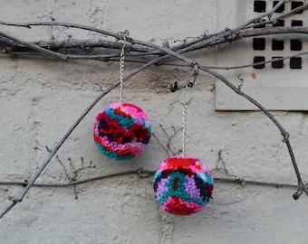 HeyHiHello (Pink) Pom Pom Earrings