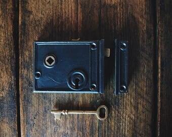 Cast iron level lock , lever lock ,vintage door lock,door lock , door decoration .