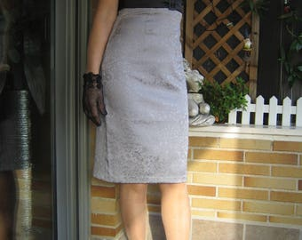 Gray strapless dress Black strapless dress in brocade dress fabric Elegant dress short dress in Peak