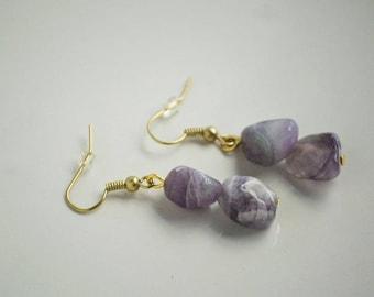 White and Purple Quartz Gold Drop Earrings