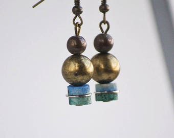 Bronze Blue Green Color Block Drop Earrings