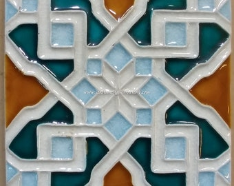 """Arabesque Tile handmade relief tile, kitchen backsplash tile, 45 pieces 6""""x6"""" inch Made in Italy handcrafted tiles"""