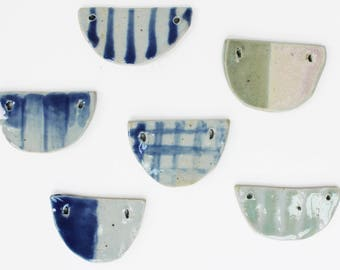 Half Moon Pendant, Ceramic Pendant Necklace, Half Circle Necklace, Clay Pendant Necklace, Porcelain Pendant, Tile Necklace, Geometric Charm