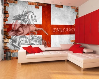 England Flag Wallpaper||Wall Decal||Peel & Stick||Removable||High Quality Materials || DIY