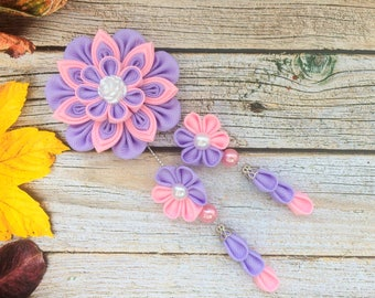 Lavender And Pink Hair Clip Hair Jewelry Kanzashi Flower Pretty Hair Bow Kanzashi Hair Clip Girls Ribbon Bow Pink and Lilac Girl Hair Clips