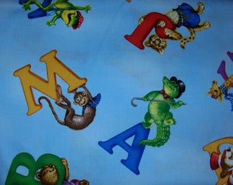 South Sea Imports 100% Cotton Fabric BTY - Fuzzytails ABC's