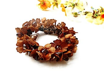Hair Scrunchie Floral Brown Cotton Ponytail Holder Flower Blossom Embroidery Crochet Elastic Wrap Hair Ties Glass Pearl Women Girl accessory