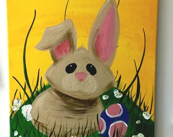 "Acrylic Painting ""Wobbly Wabbit"" 16""x20"" colorful art paint on canvas Easter bunny rabbit unframed"