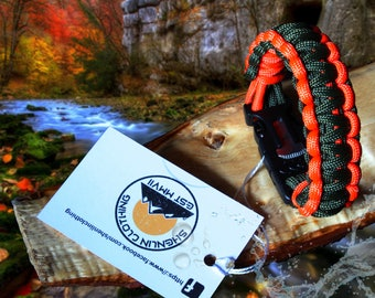 Paracord Survival Bracelet With Firestarter Whistle & Blade. Hand  Made In The Uk.