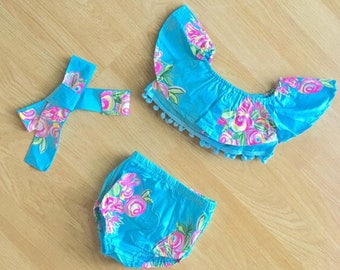 Baby Swimsuit Toddler Swimsuit Girl Swimsuit Baby Swimwear Toddler Swimwear kids Floral Bathing Suit Blue
