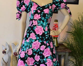 Vintage 80s Rose Print Puff Sleeve Country Romance Dress S