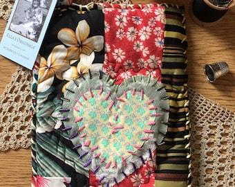 Fabric Potholder, Quilted Pot Holder, Patchwork Potholder, Embroidered Potholder, Recycled Fabric Potholders