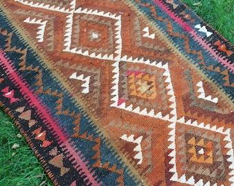 "Oushak rug,7'3""×3'6"", Vintage Kilim Rugs,Anatolian Kilim Carpet,Turkish Oushak Kilim,Fashion Rug, floor Rugs, Rugs,Area Rug,106x220cm,Rugs,"