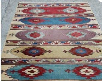 "Oushak rug,Turkish Rug Pattern,Vintage Rug,5'3""×7'3""feet,Home living,Area rug,Turkish carpet,fashion rug,Rugs,"
