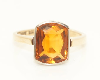 Stunning Antique Early 20th Century 9Ct Gold 3.5Ct Citrine Ring, Size M
