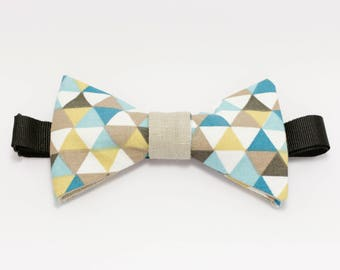 """Beige and blue bow tie graphic """"Wave"""""""