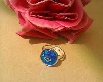 Floral blue silver plated adjustable statement ring