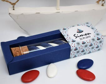 """10 boxes dragées """"sailor boy"""" Louisa christening gift - containing original and personalized for baptism and birthday favors"""