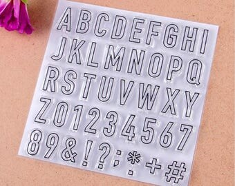 A-Z Alphabet Capital Letters, Numbers & Symbols Clear Rubber Stamp Set ~ card making, scrapbooking, collage, paper craft, planner, agenda