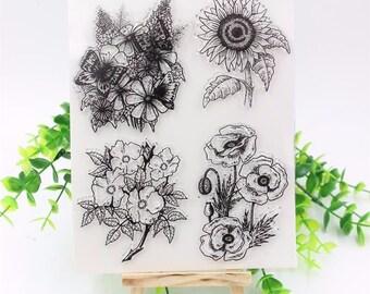 Flowers Clear Rubber Stamp Set w/ sunflower, butterfly, poppy, anemone, daisy, flower, summer