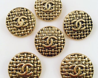 Sale - Set x 6 (20mm) Estate sale shiny round mesh goldtone vintage buttons